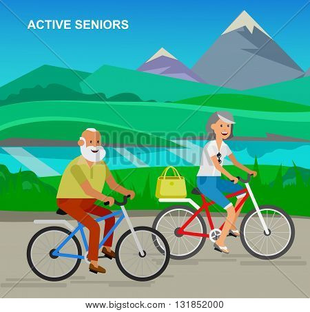 vector detailed character senior, senior age travelers. Old age retired tourists couple. Elderly senior having summer vacation. Old tourists riding on a bicycle. Active senior on