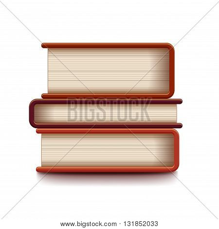 Stack of books isolated on white photo-realistic vector illustration