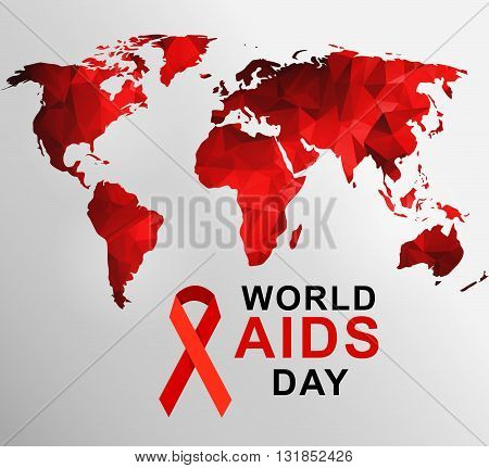 World AIDS Day. 1st December World Aids Day poster with with red polygonal world map . Vector illustration