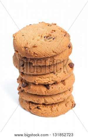 Chocolate chip cookies isolated on white background
