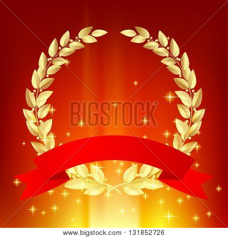 Gold laurel wreath with red ribbon on luminous sparkling background. Vector illustration