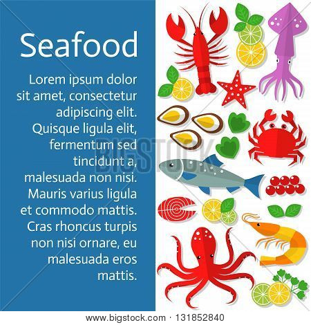 Fresh seafood background. Vector flat illustrations of lobster, crab, salmon, fish, squid, oyster, shrimp, octopus, eel. Seafood restaurant menu.