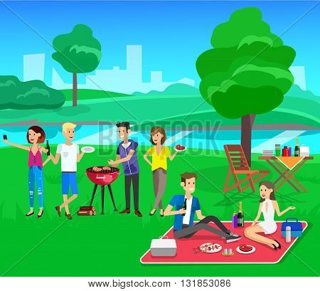 Vector character people on picnic or Bbq party. Food and barbeque, summer and grill. Vector barbeque party, illustration barbeque party. Chef men cooking steaks on grill.