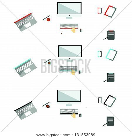 business life flat design, table busy computer