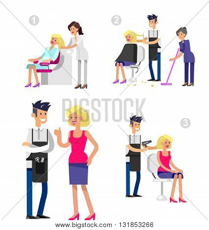 Detailed character Barber makes a hair washing, cut and styling for glamorous girl, beautiful smiling blond woman. Web banner template  for beauty saloon isolated on white background.