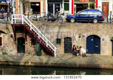 UTRECHT, NETHERLANDS - MAY 6, 2013: There is duplex embankment on the canal Oudegracht.