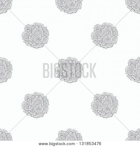 Just simple seamless pattern of bloom carnation. Monocrome scetch hand drawing.