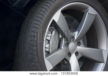 Wheel closeup with brake disc and caliper alloy wheels