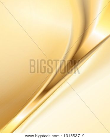 Abstract gold background, elegant wavy vector illustration
