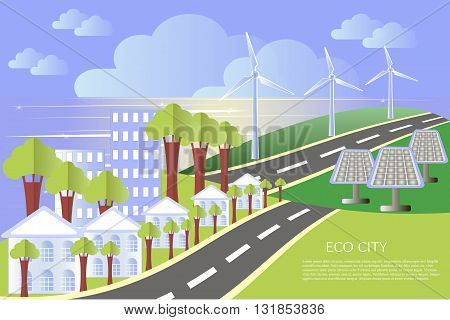 Eco city landscape, flat design, lorem ipsum, vector illustration