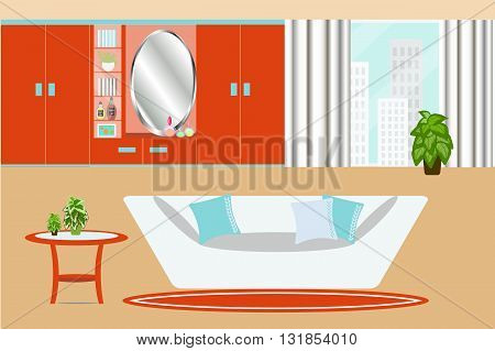The interior of living room in orange blue and white color, wardrobe, mirror, sofa and indoor plant vector illustration