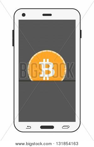 Bitcoin. Bitcoin mobile payment. Realistic smartphone. Vector.