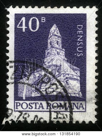 ZAGREB, CROATIA - JULY 18: A stamp printed in Romania shows St. Nicholas Romanesque church, Densus, circa 1974, on July 18, 2012, Zagreb, Croatia