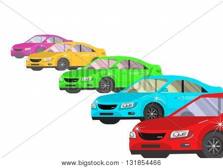 design concept of choice car and buying a car. Vector car, car cool flat, car  illustration isolated on white background.