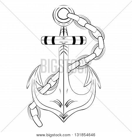 Vintage Hand Drawn Anchor. Vector ink sketch illustration