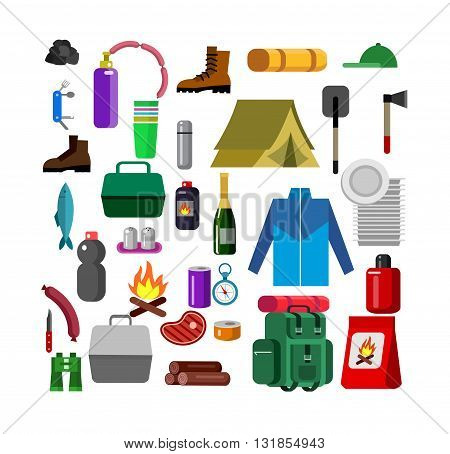 Camping banner. Camping Weekend icons. Hiking and camping object. Vector camping flat illustration