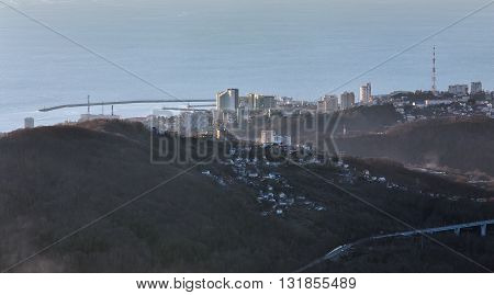 View of the Central district of Sochi from the observation tower of Akhun mountain. Russia