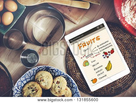 Fruits Berries Healthy Shopping List Concept