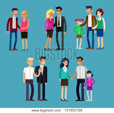 Detailed character people family, parents with kids, couple, family with children. Vector family character. Illustration family people