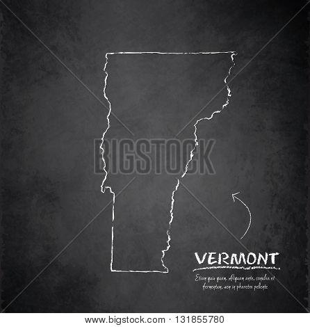 Vermont map blackboard chalkboard vector dark black