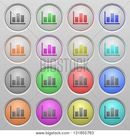 Set of statistics plastic sunk spherical buttons.
