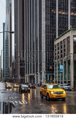 Streets Of Manhattan On A Rainy Day
