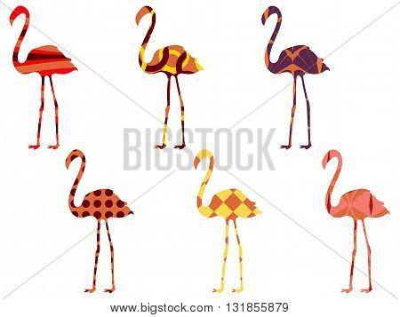 Flamingo Pattern. Flamingo Isolated. Set Of Vector Illustrations.