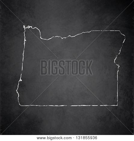Oregon map blackboard chalkboard raster black white