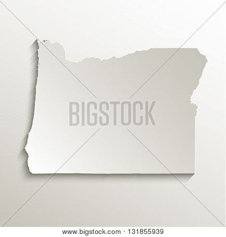 Oregon map card paper 3D natural vector
