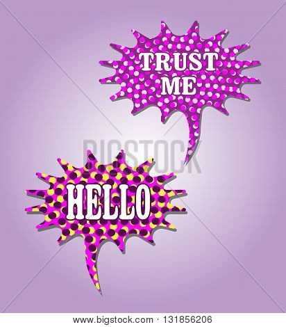 Halftone Speech Bubbles in Purple and Pink