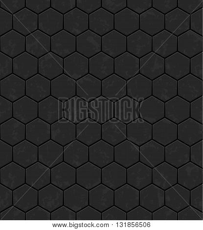 Grey hexagons of metal stone. Seamless vector texture. Technology seamless pattern.Vector geometric dark background.