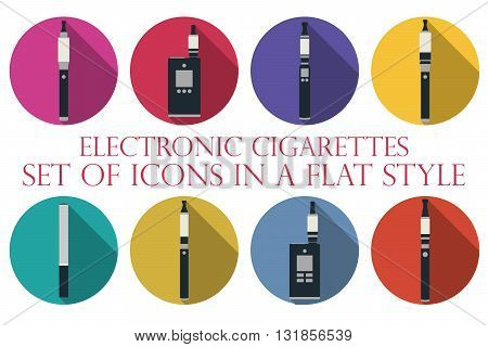 Electronic cigarette. Electronic cigarette flat icons. Types vaporizers. Set of round icons.