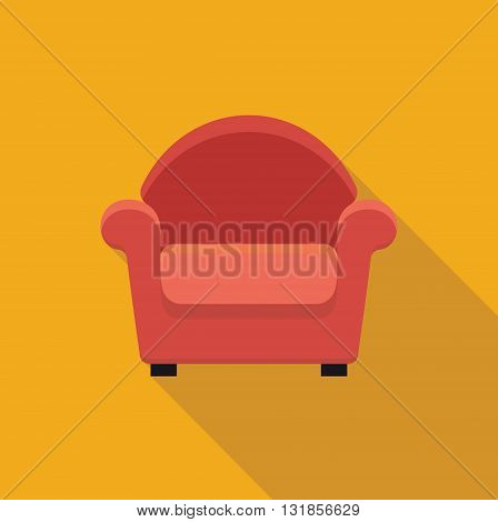 Stylized flat icon armchair. Vector illustration. Symbol
