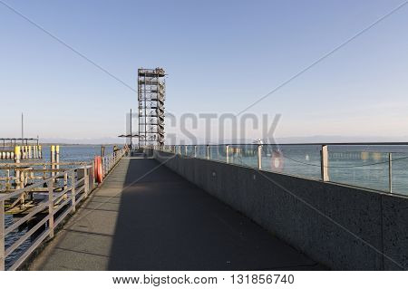 Friedrichshafen pier and sightseeing tower in the morning, GERMANY