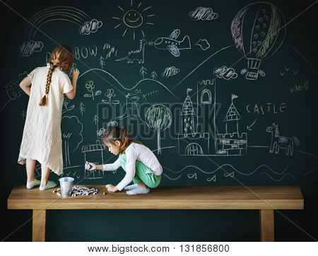 Blackboard Drawing Creative Imagination Idea Concept
