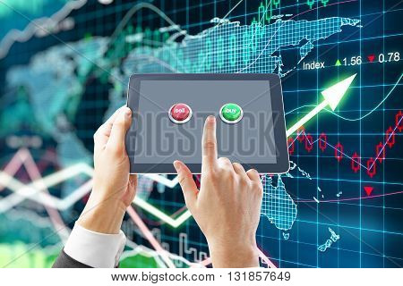 Fund manager holding tablet with sell and buy buttons on forex background. 3D Rendering