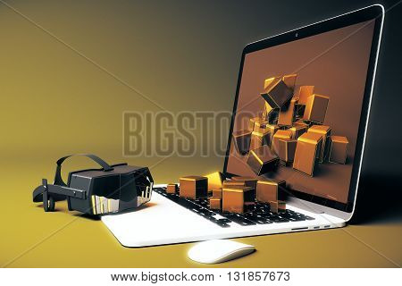 Virtual reality glasses next to laptop with square blocks falling out of screen on yellow background. 3D Rendering