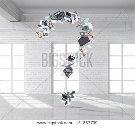 Abstract question mark made of office tools and items in white brick interior. 3D Rendering