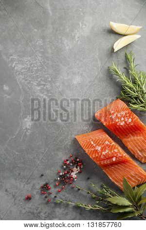 Fresh Raw Salmon Fillets With Herbs And Spices