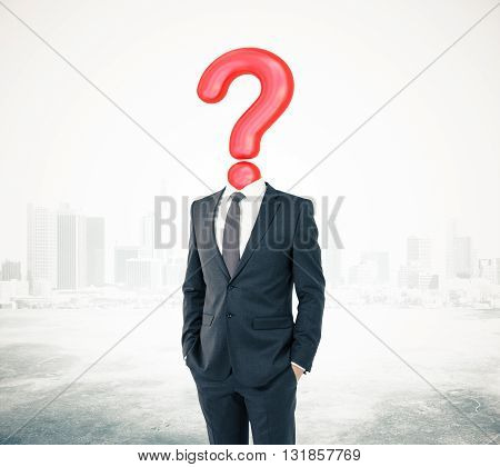 Businessman with question mark head on abstract city background