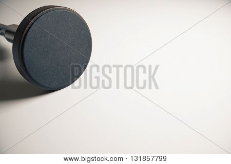 Empty round stamper on light surface. Mock up 3D Rendering