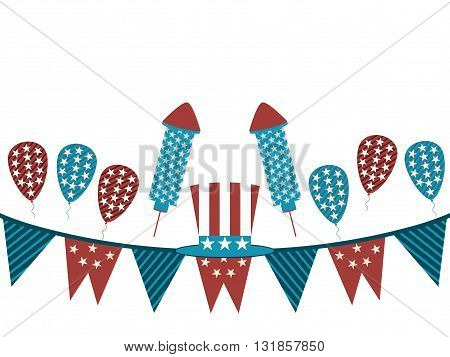 Background With Garland And Fireworks. Uncle Sam Hat And Garland On A White Background, Holiday Item