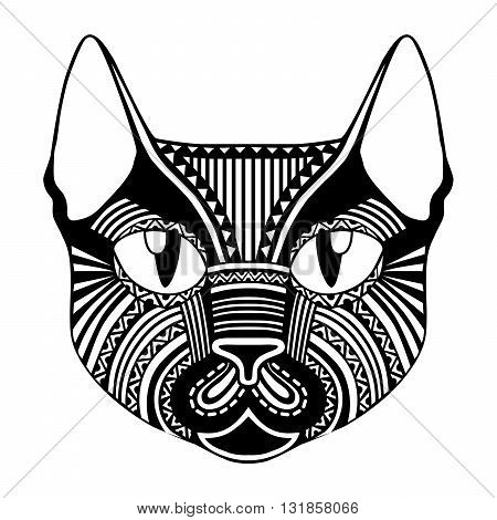 Ethnic patterned ornate decorative face cat silhouette. African totem tattoo design poster print or t-shirt.
