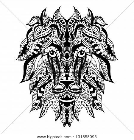 Ornamental Tattoo Lion Head. Zentangle stylized Lion face. Hand Drawn doodle vector.