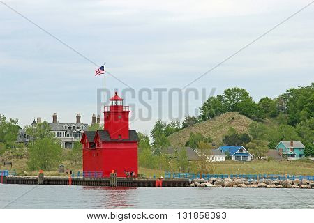 The Big Red Lighthouse in Holland Michigan