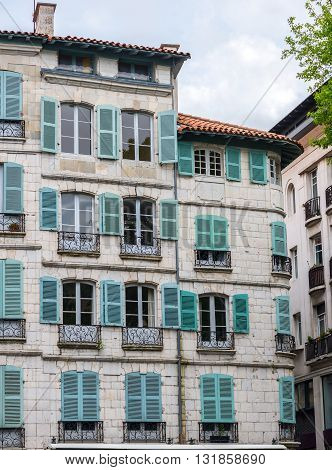 Antique building of France in a street of Bayonne. Aquitaine France.