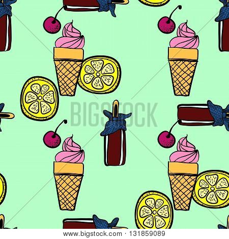 seamless pattern of ice-creams and ice-lolly in graphic style