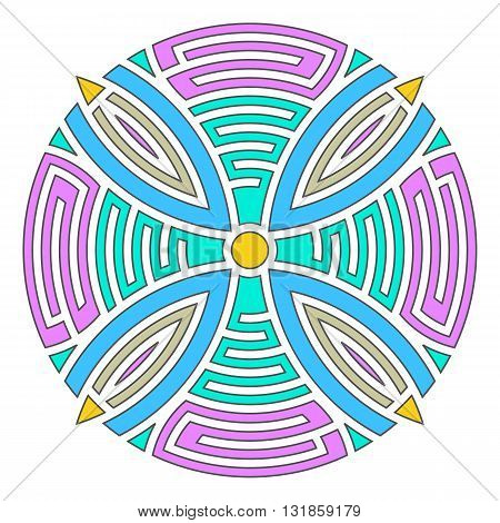 Colorful geometric abstract round mandala vector illustration