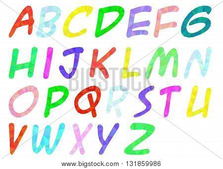 Polygon the English alphabet on a white background