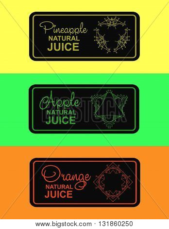 label for natural juice, freshly squeezed juice packaging. Linear vector logo illustration for apple juice, orange juice, pineapple juice